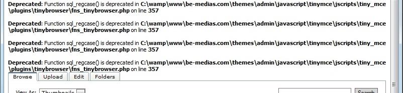 Sample error messages