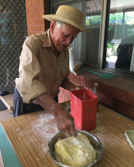 Image of Nonno teaching us how to make gnocchi