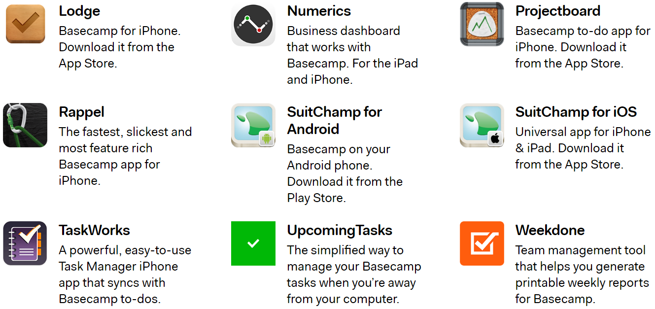 Screenshot of a previous version of the Basecamp 2 Extras page